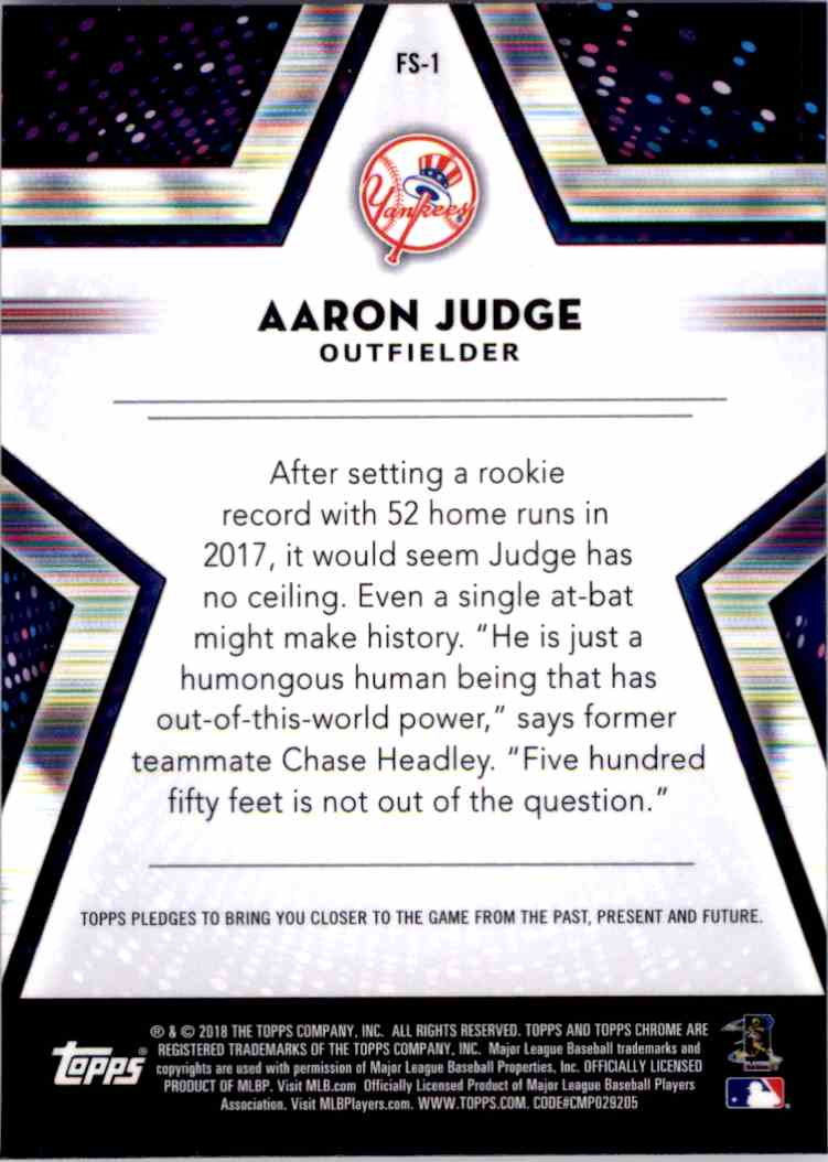 2018 Topps Chrome Future Stars Aaron Judge #FS-1 card back image