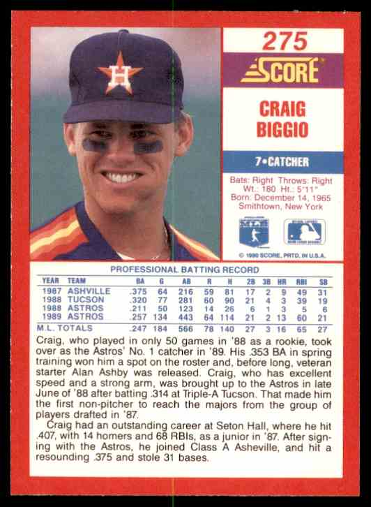 1990 Score Craig Biggio #275 card back image