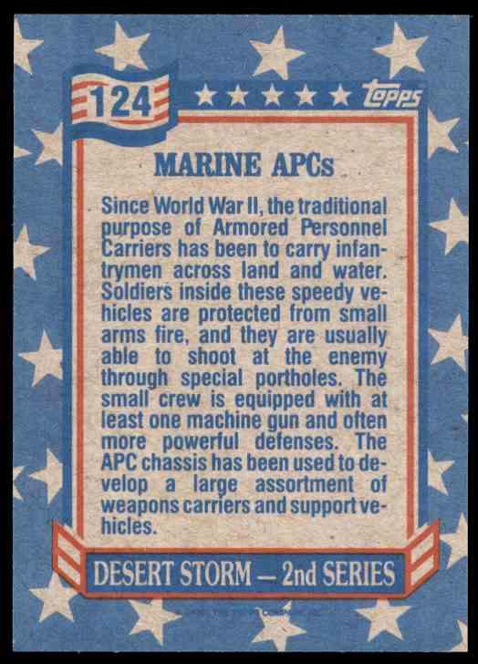1991 Desert Storm Topps Marine Apc #124 card back image