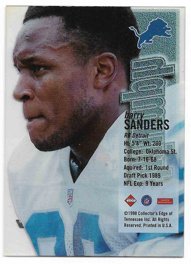 1998 Edge 1st Place Barry Sanders #BASA card back image