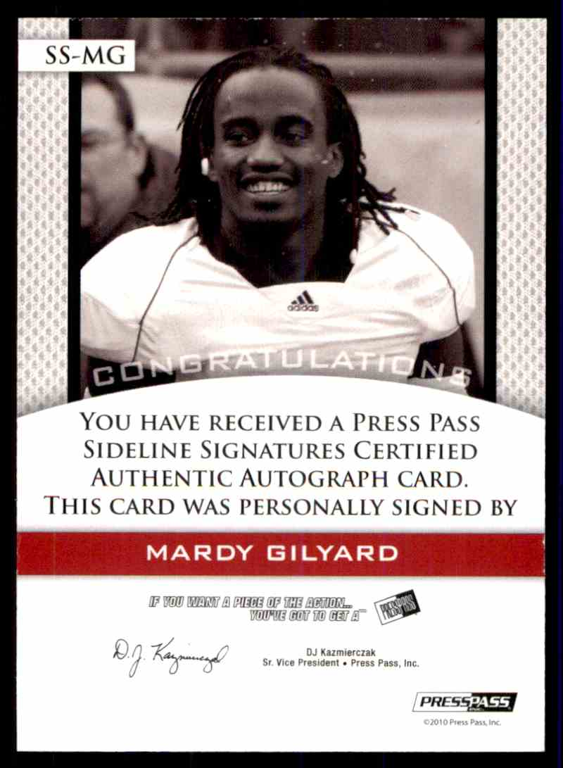 2010 Press Pass Mardy Gilyard card back image