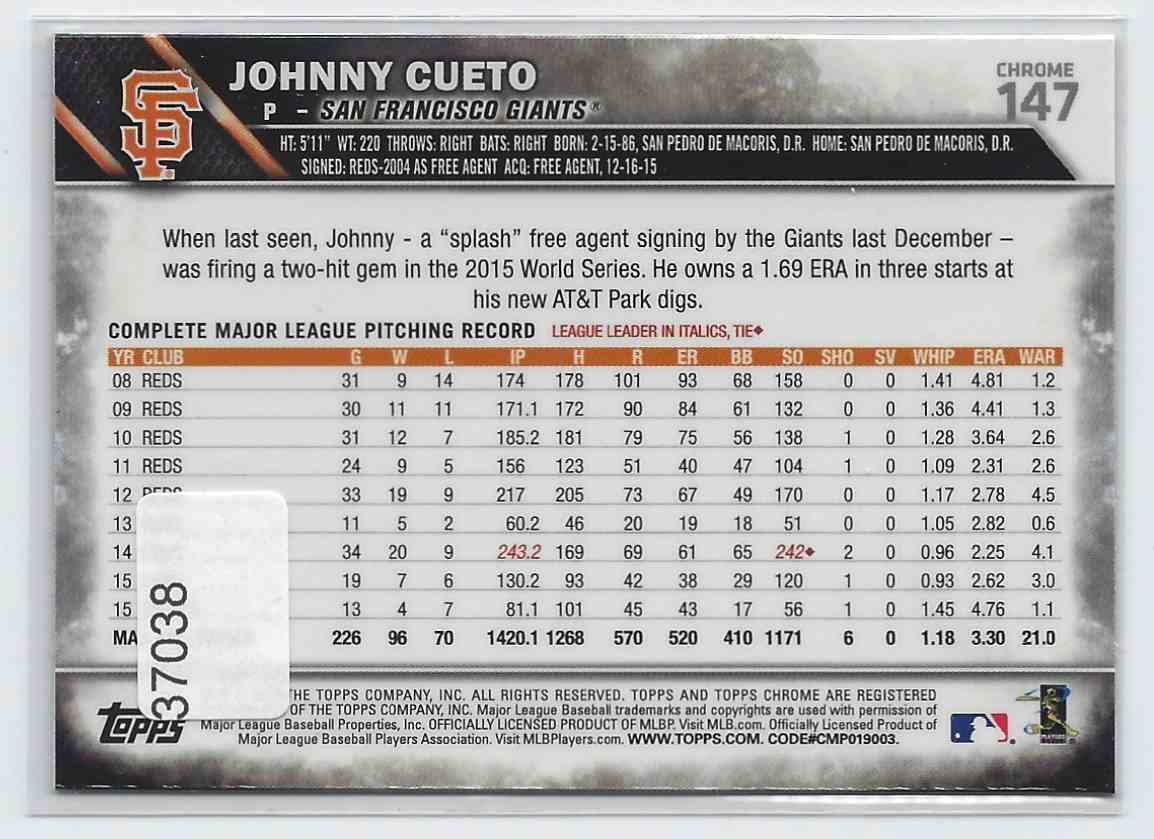 2016 Topps Chrome Sepia Refractors Johnny Cueto #147 card back image