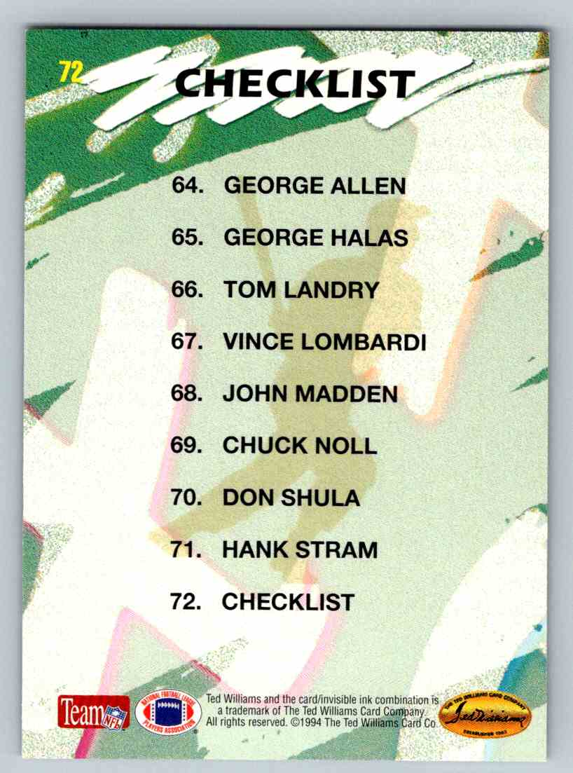 1994 Ted Williams Chalkboard Legends Checklist #72 card back image