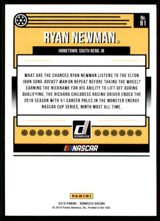 2019 Donruss Ryan Newman #81 card back image