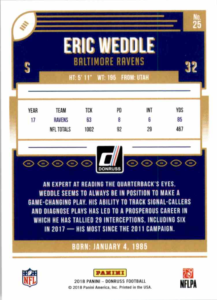 2018 Donruss Eric Weddle #25 card back image
