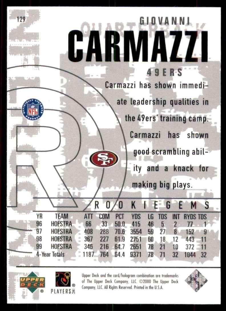 2000 Black Diamond Giovanni Carmazzi RC #129 card back image