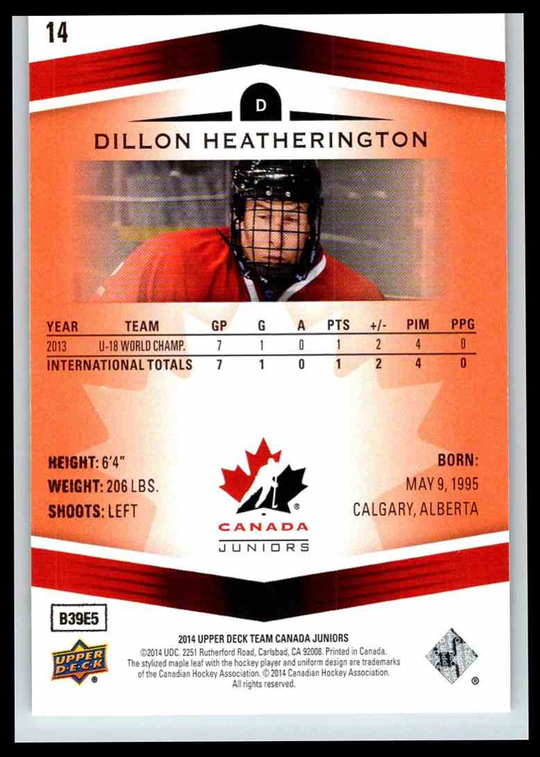 2014-15 Upper Deck Team Canada Juniors Red Dillon Heatherington #14 card back image