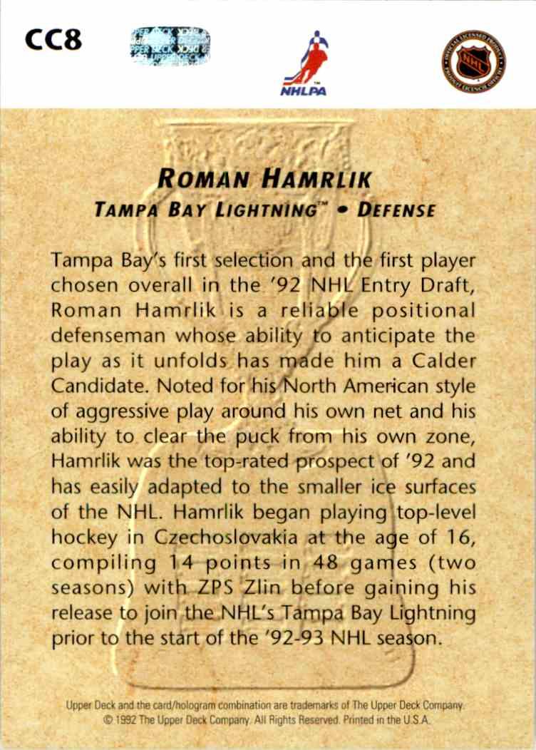 1992-93 Upper Deck Calder Candidates Roman Hamrlik #CC8 card back image