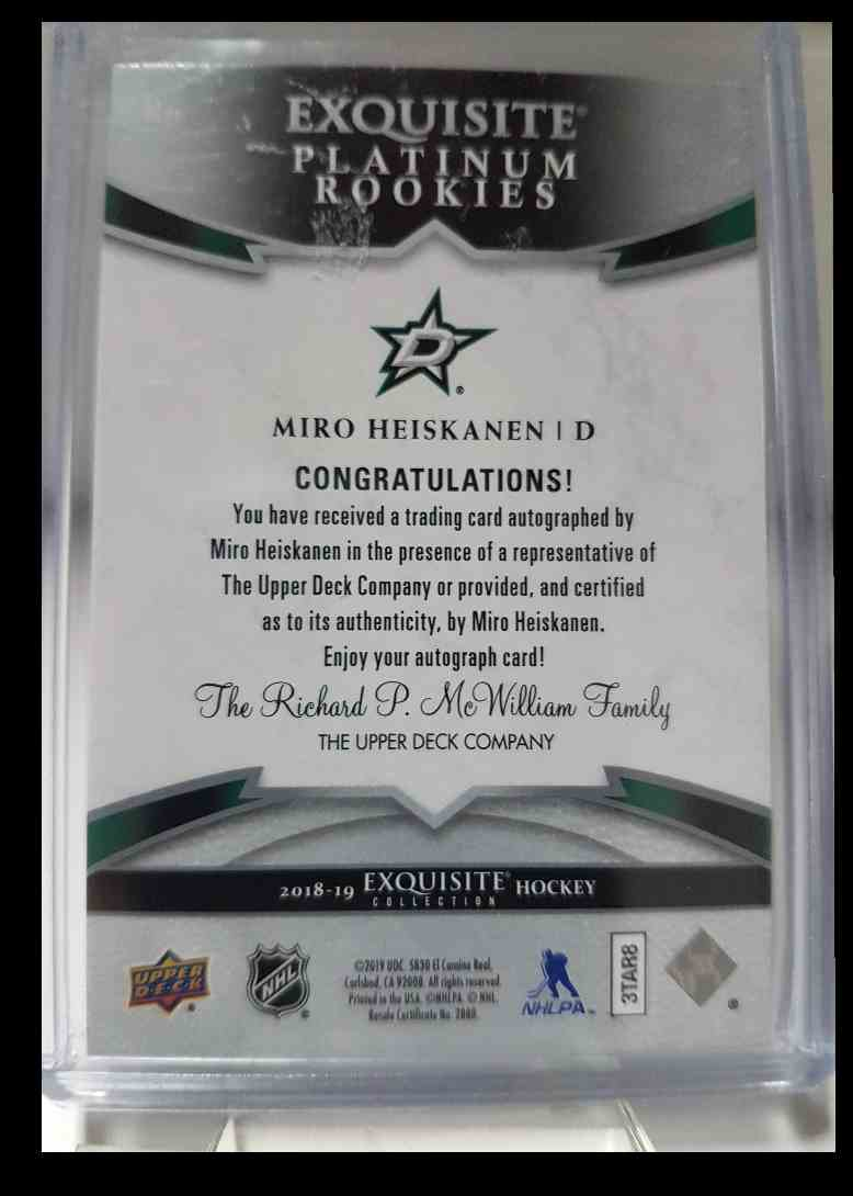2018-19 Exquisite Collection Platinum Rookies Signatures Miro Heiskanen 190/199 #R6 card back image