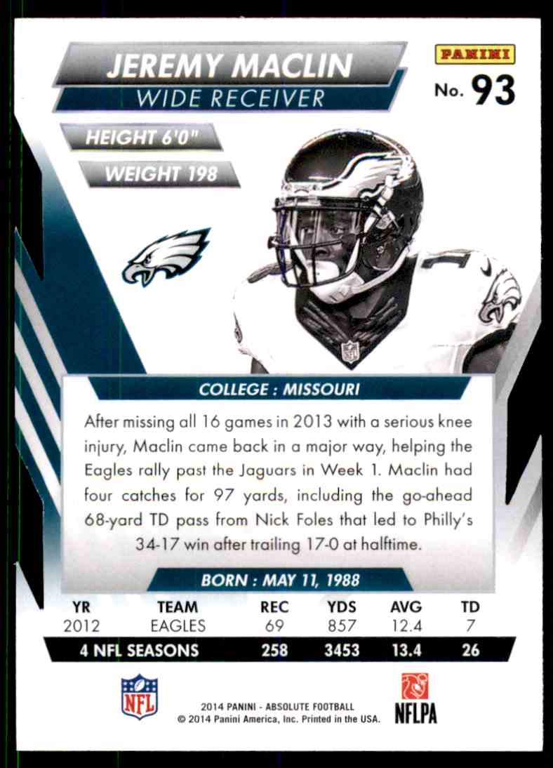 2014 Absolute Retail Jeremy Maclin #93 card back image