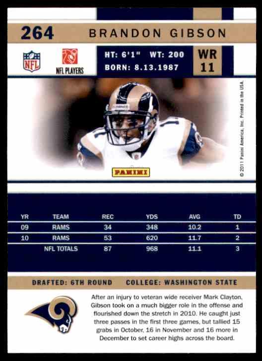 2011 Score Brandon Gibson #264 card back image