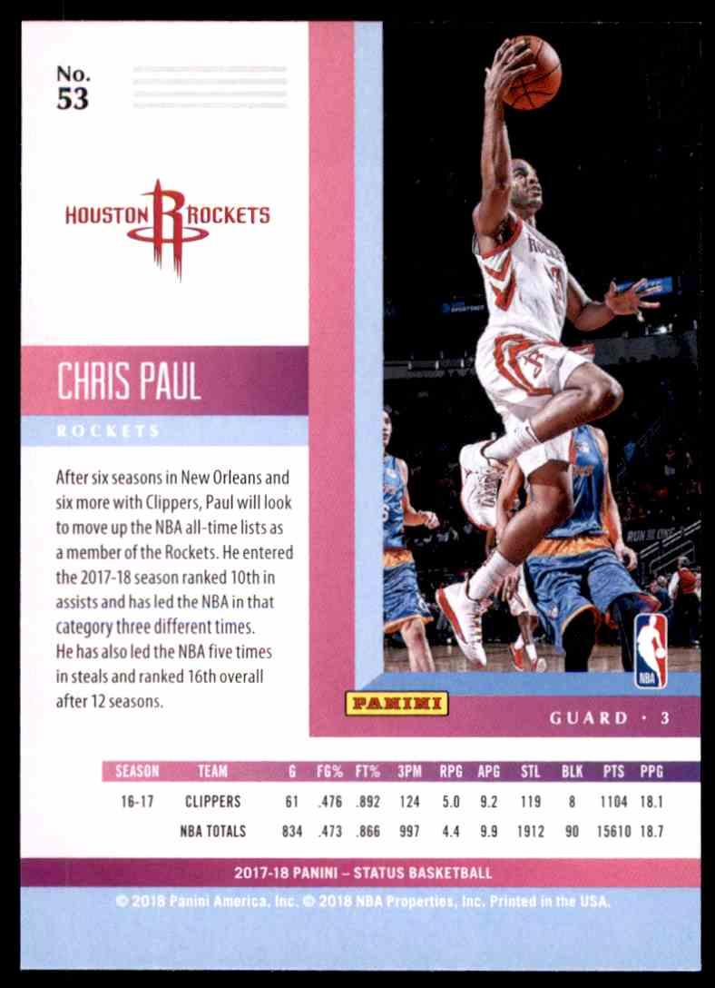 2017-18 Panini Status Chris Paul #53 card back image
