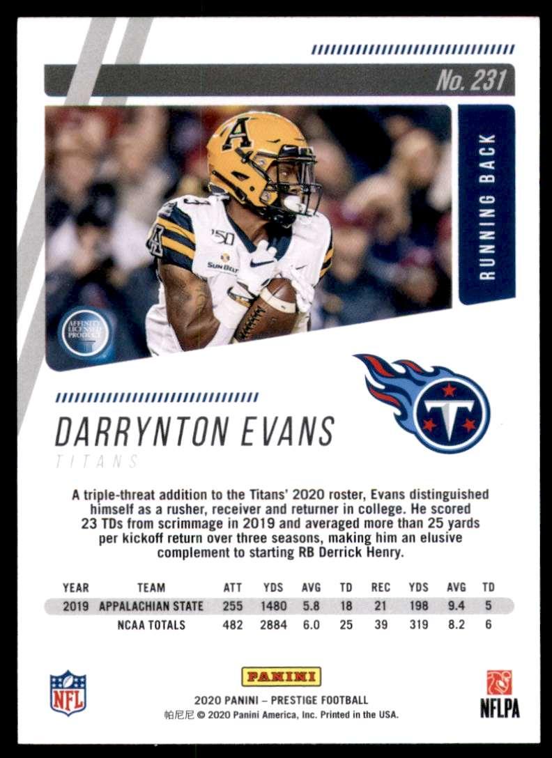 2020 Prestige Darrynton Evans RC #231 card back image