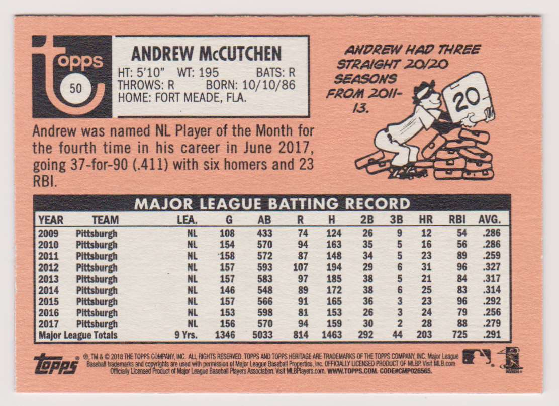 2018 Topps Heritage Andrew McCutchen #50 card back image