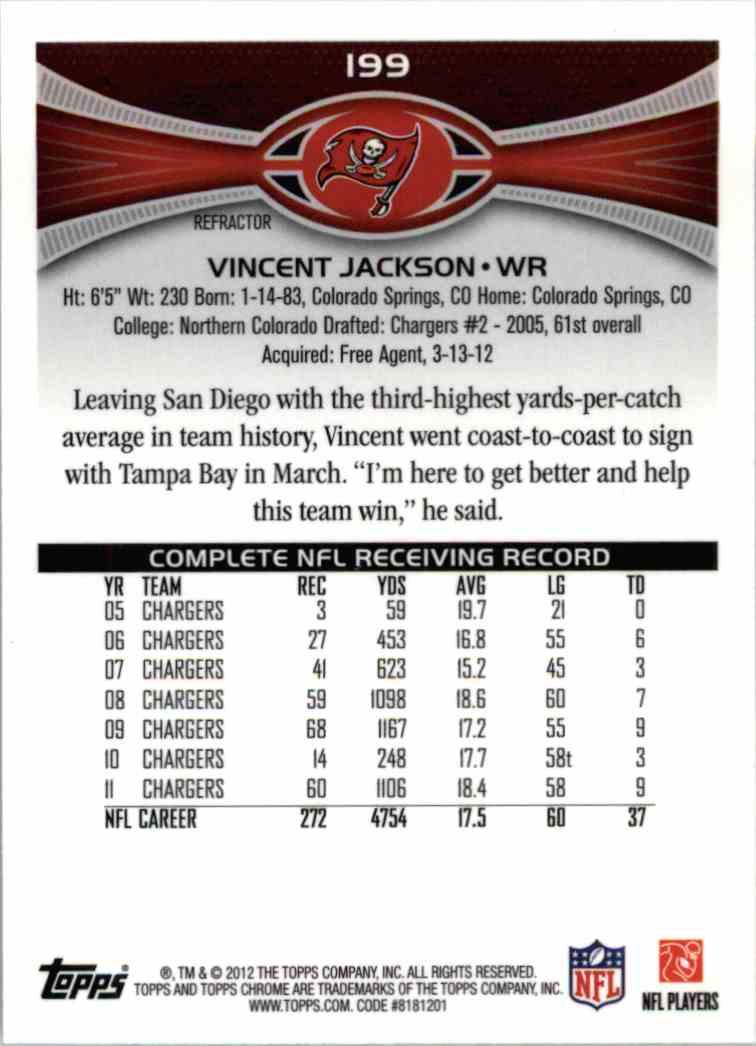 2012 Topps Chrome Vincent Jackson #199 card back image