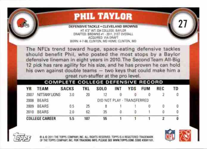 2011 Topps Phil Taylor RC #27 card back image