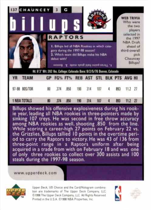 1998-99 UD Choice Chauncey Billups #137 card back image