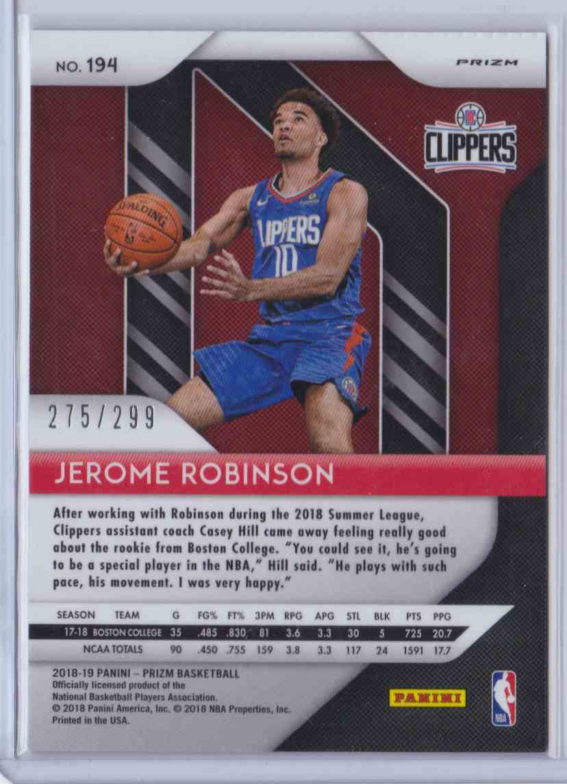 2018-19 Prizm Red Jerome Robinson #194 card back image
