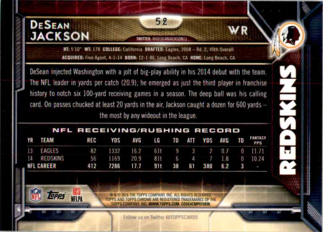 2015 Topps Chrome DeSean Jackson #52 card back image