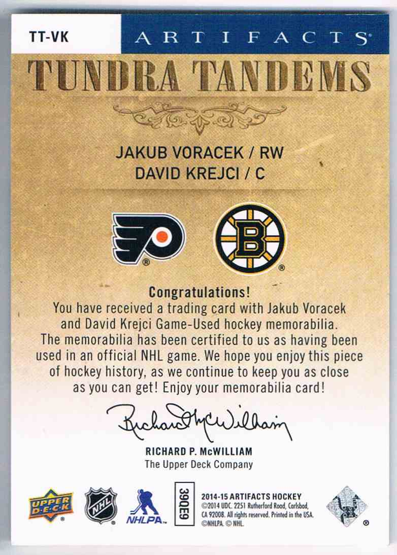 2014-15 Upper Deck Artifacts Tundra Tandems Jakub Voracek David Krejci #TT-VK card back image