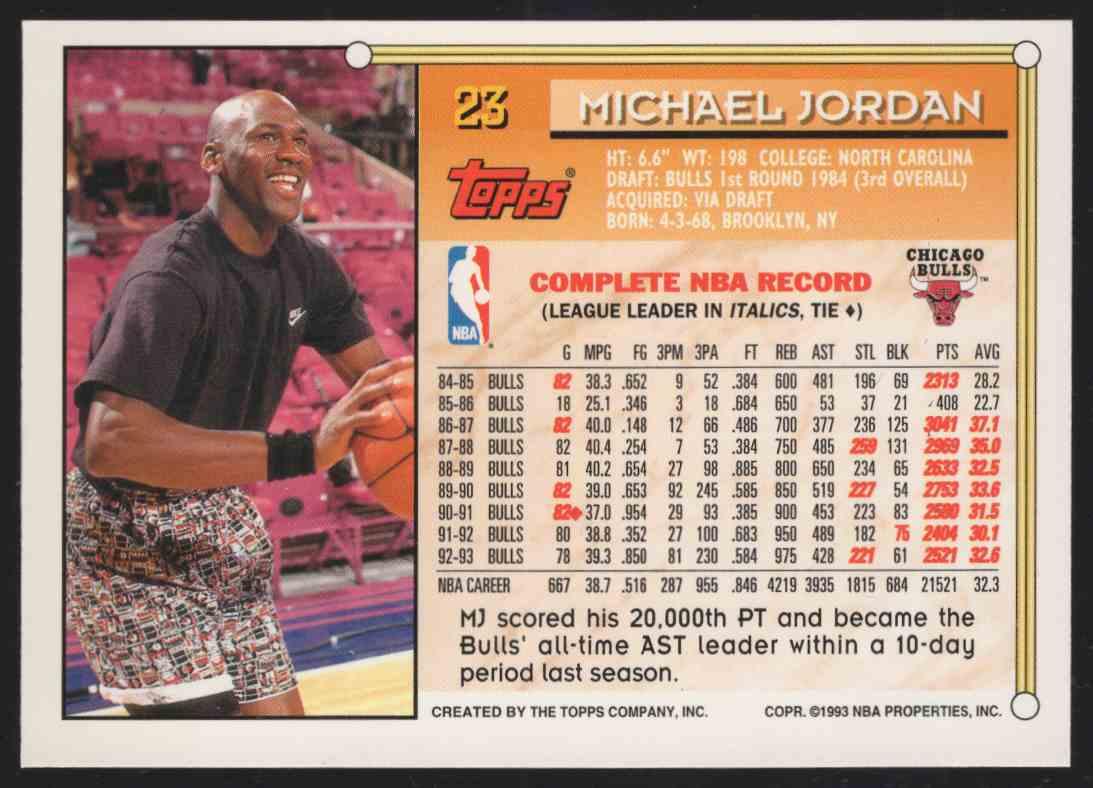 1993-94 Topps Gold Michael Jordan #23 card back image