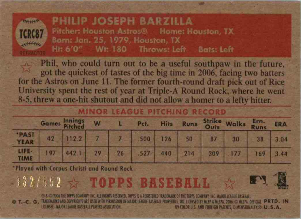 2006 Topps 52 Philip Barzilla #TCRC87 card back image