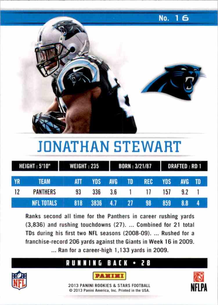 2013 Rookies And Stars Longevity Jonathan Stewart #16 card back image