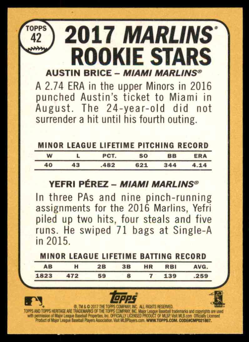2017 Topps Heritage Austin Brice, Yefri Perez #42 card back image