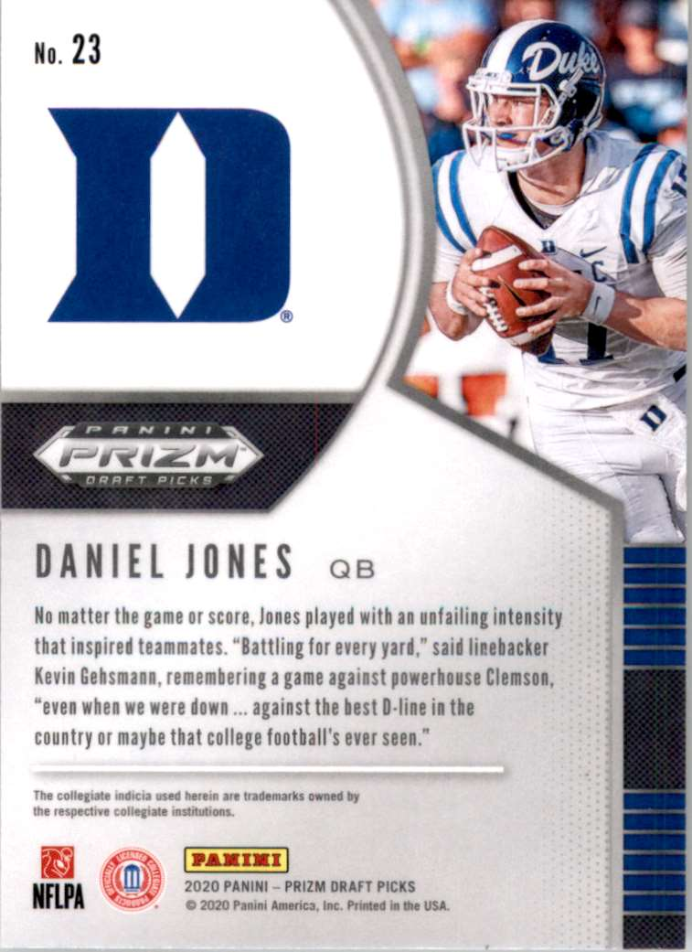 2020 Panini Prizm Draft Picks Daniel Jones #23 card back image