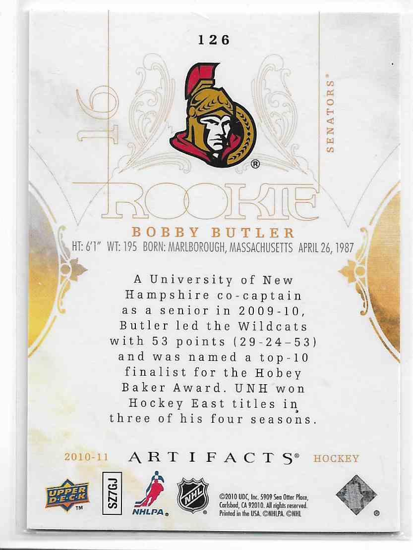 2010-11 Upper Deck Artifacts Bobby Butler #126 card back image