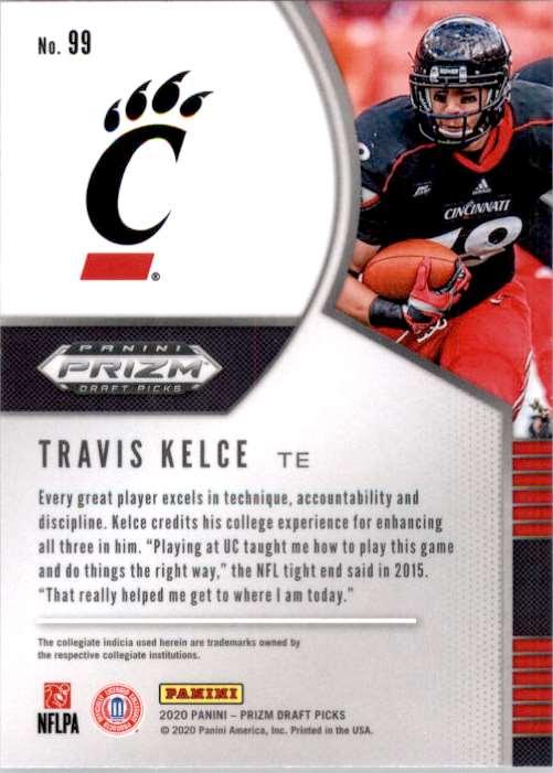 2020 Panini Prizm Draft Picks Travis Kelce #99 card back image