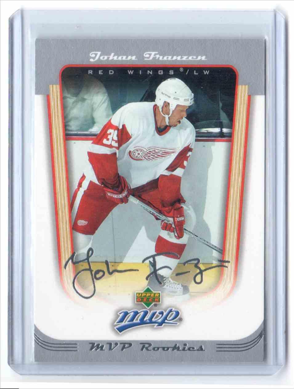 2005-06 Upper Deck MVP Johan Franzen #421 card front image