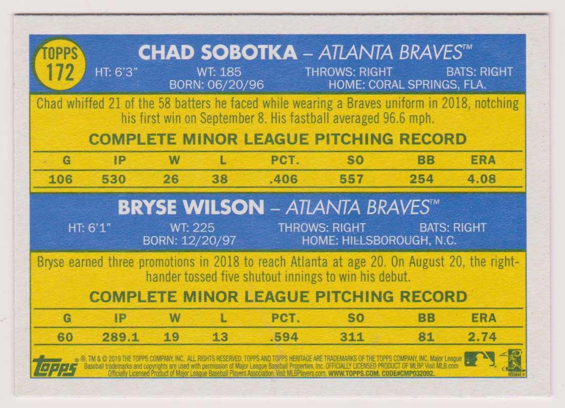 2019 Topps Heritage Chad Sobotka Bryse Wilson #172 card back image
