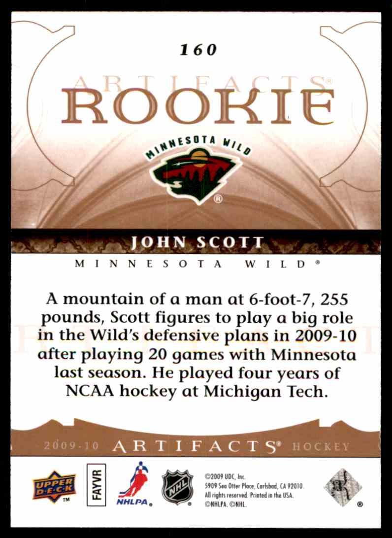 2009-10 Upper Deck Artifacts John Scott #160 card back image