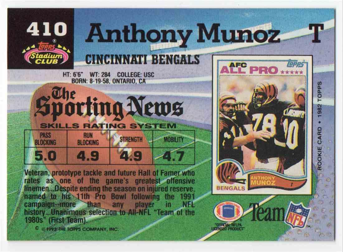 1992 Stadium Club Anthony Munoz #410 card back image