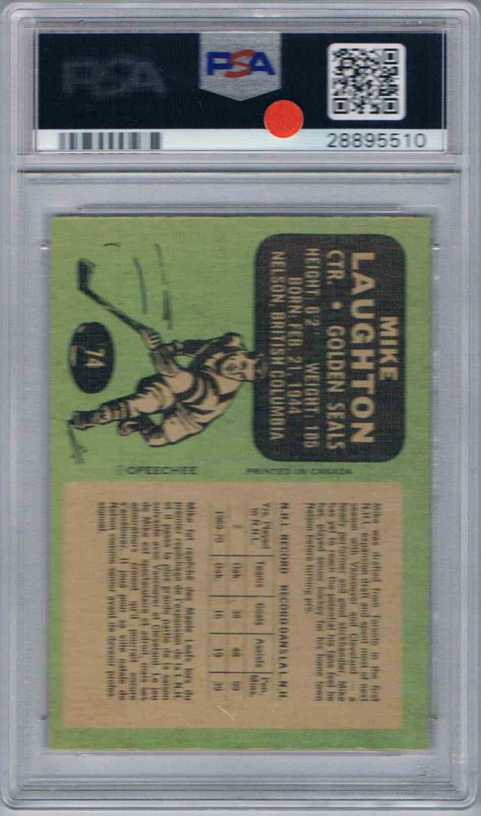 1970-71 O-Pee-Chee OPC Mike Laughton #74 card back image