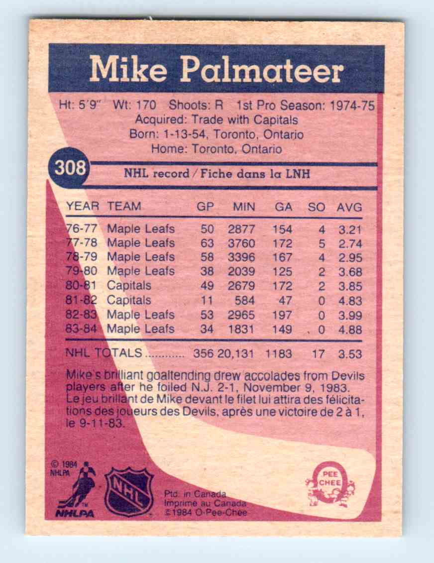 1984-85 O-Pee-Chee Mike Palmateer #308 card back image