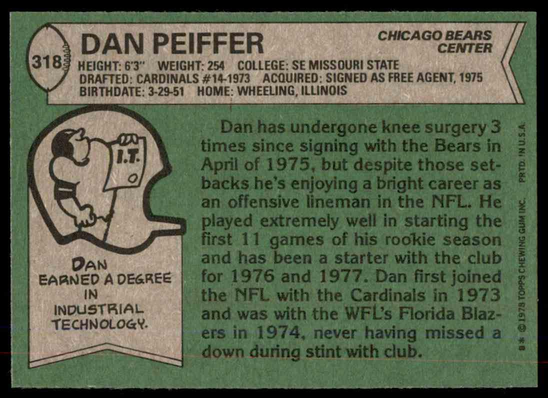 1978 Topps Football Dan Peiffer #318 card back image
