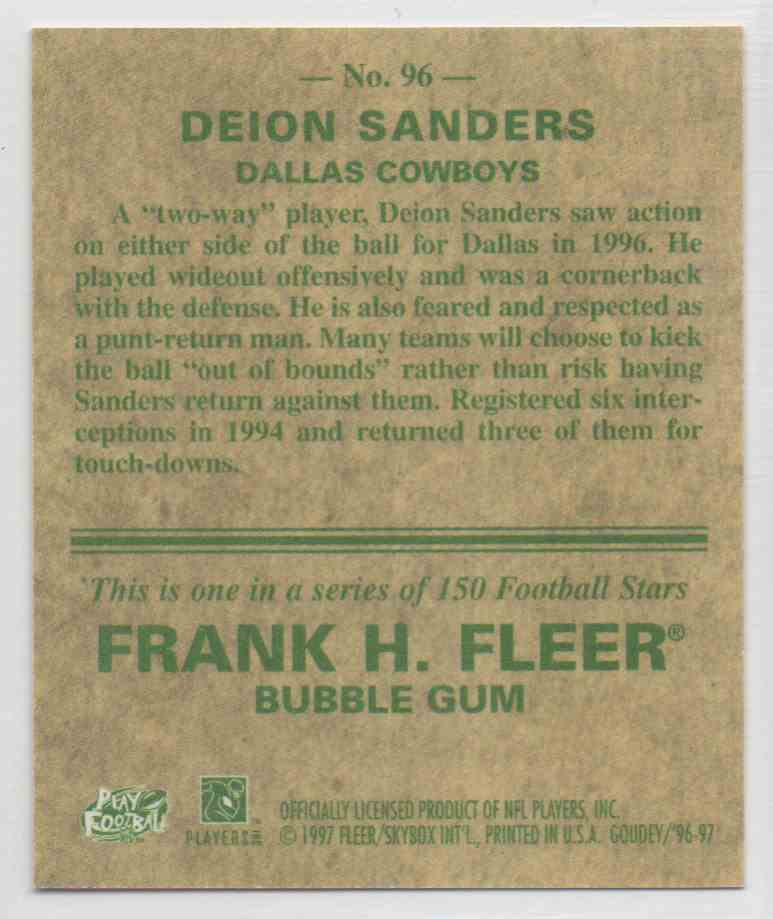 1997 Fleer Goudey Deion Sanders #96 card back image