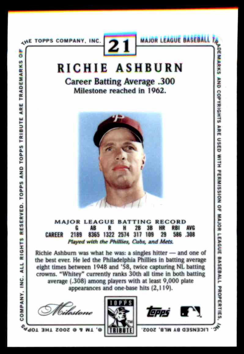 2002 Topps Tribute Richie Ashburn #21 card back image