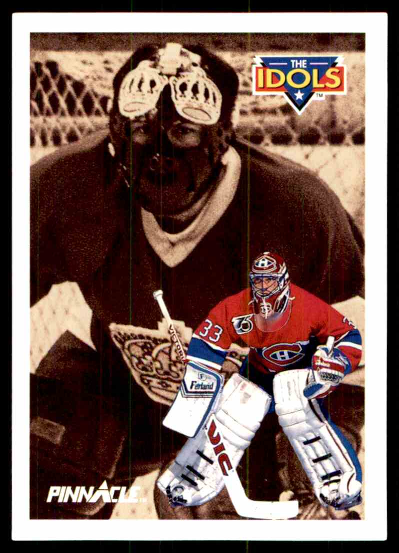 1991-92 Pinnacle French Patrick Roy Rogatien Vachon #387 card back image
