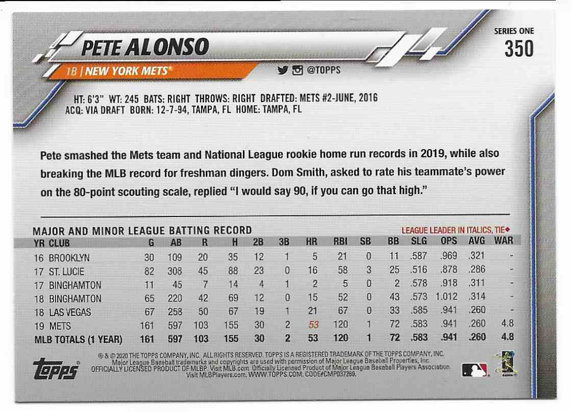 2020 Topps Pete Alonso #350 card back image