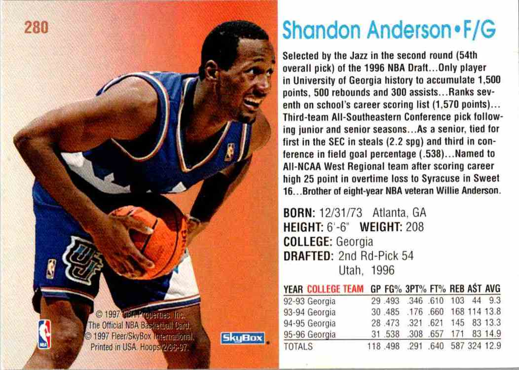 1997-98 NBA Hoops Shandon Anderson #280 card back image