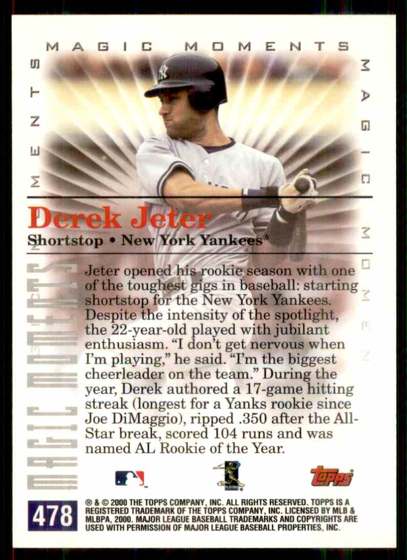 2000 Topps Magic Moments Derek Jeter #478 card back image