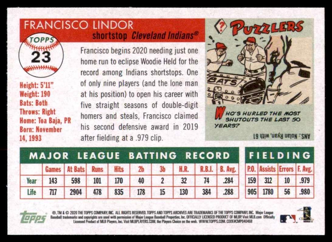 2020 Topps Archives Francisco Lindor #23 card back image