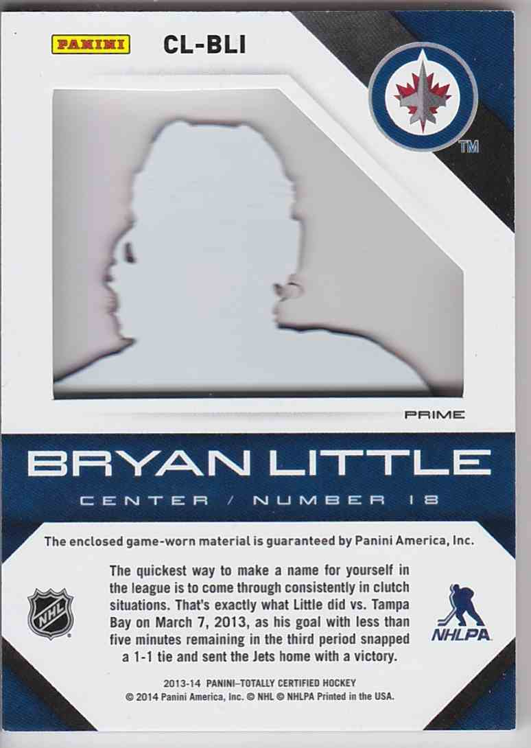2013-14 Panini Totally Certified Clear Cloth Bryan Little #CLBLI card back image