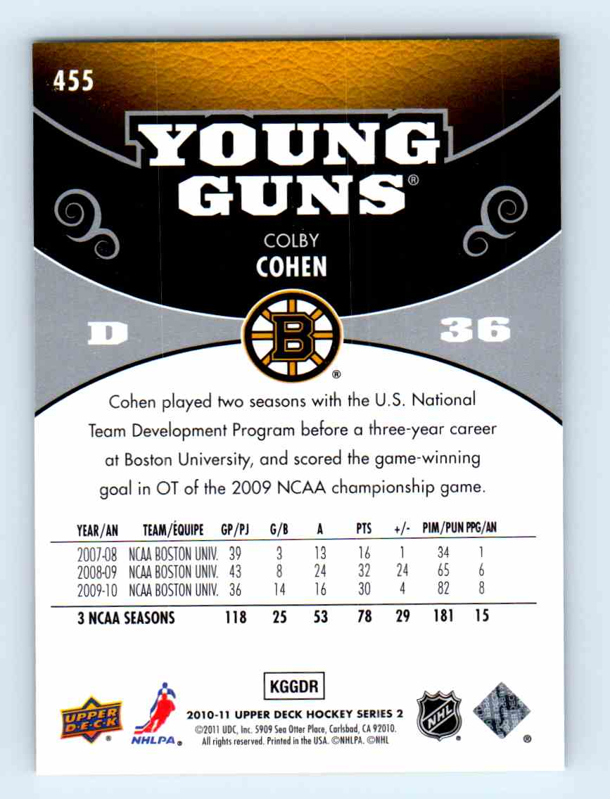 2010-11 Upper Deck Young Guns Colby Cohen #455 card back image