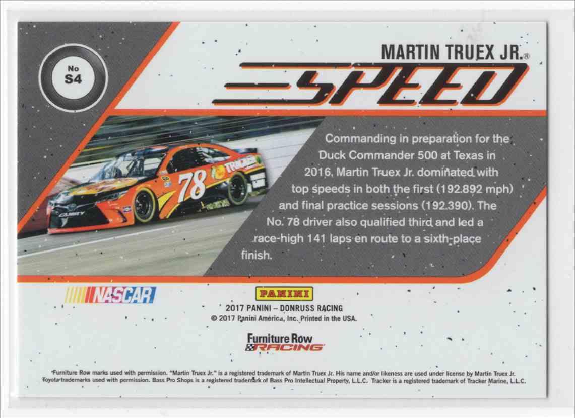 2017 Panini Donruss Racing Martin Truex JR. #S4 card back image