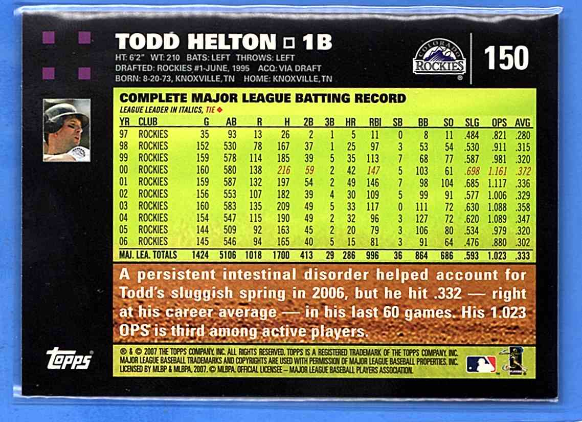 2007 Topps Todd Helton #150 card back image