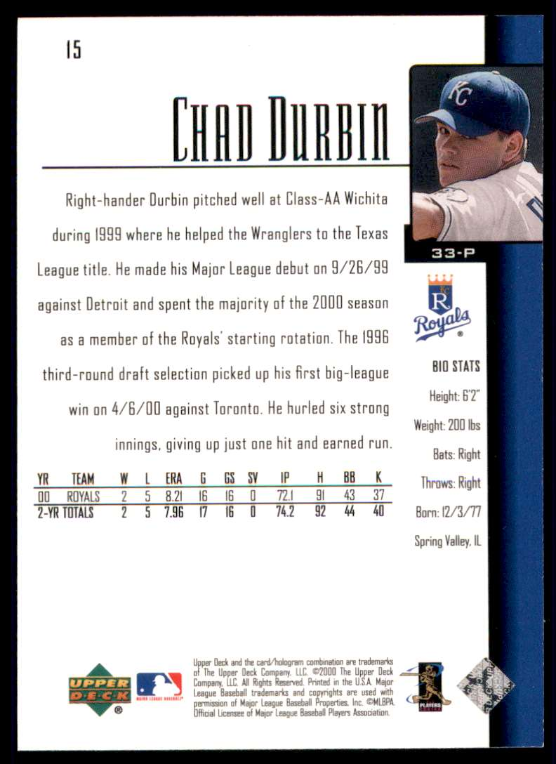 2001 Upper Deck Chad Durbin Sr #15 card back image